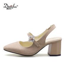 6b442811f Daitifen новые элегантные жемчужные Для женщин Высокие каблуки босоножки  квадратный носок женские туфли Мэри-Джейн
