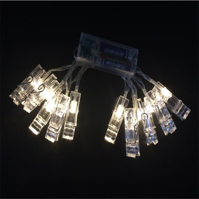 2m mini 20 led 3xaa battery card photo clip string lights christmas lights new year party wedding home decoration fairy lights in led string from lights