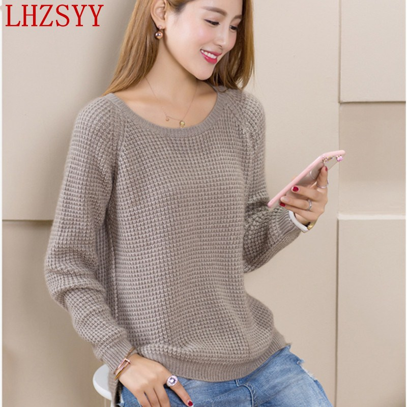 LHZSYY Autumn and winter New Cashmere Sweater women O collar fashion solid color wool knit pullover