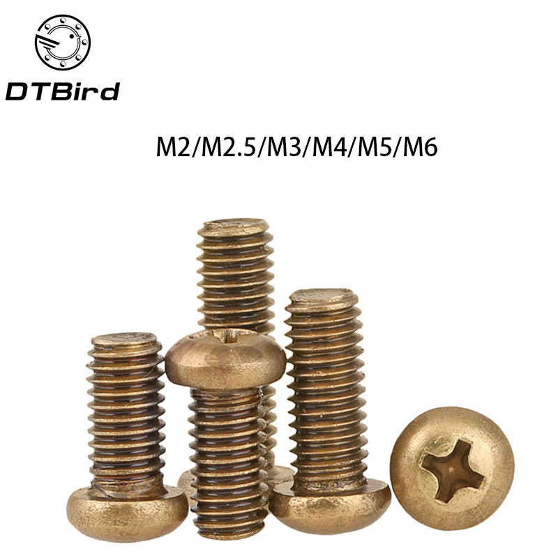 Free shipping GB818 Round head  brass Copper M2 M2.5 M3 M4 M5 M6 pan screws Cross machine 2017 m4 male m 25 30 35 40 45 50 55 60 mm x m4 6mm female brass standoff spacer copper hexagonal stud spacer hollow pillars