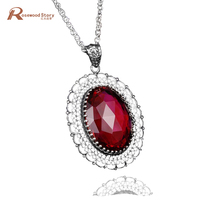 New Arrival Women Pendant Necklaces Elegant red stone crystal antique pure 925 sterling silver pendant for women