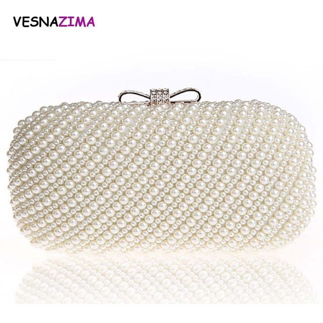 Women Evening Bags 2017 Ladies Rhinestone Clutch Purse Bag Bridal Wedding  Party Purse Pearl Beaded Shopping Handbag bolso WM014X 7f1714f0e144