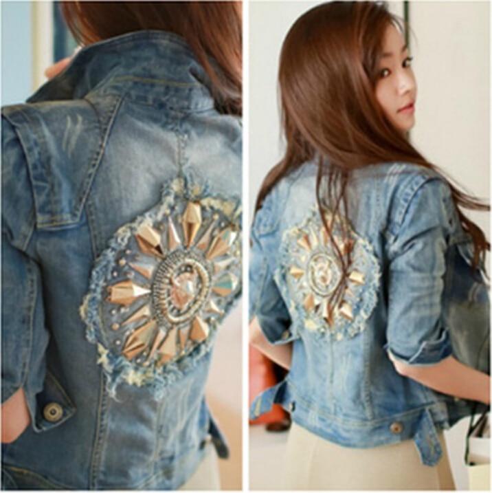 a701bb476 New Spring Autumn retro diamond sequined women jeans jacket long-sleeved  Classical Rhinestone Sequins denim jacket Slim Coats