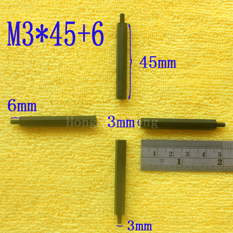 1Pcs M3*45+6 Black Nylon Standoff Spacer Standard M3 Male-Female 45mm Standoff Kit Repair Set High Quality