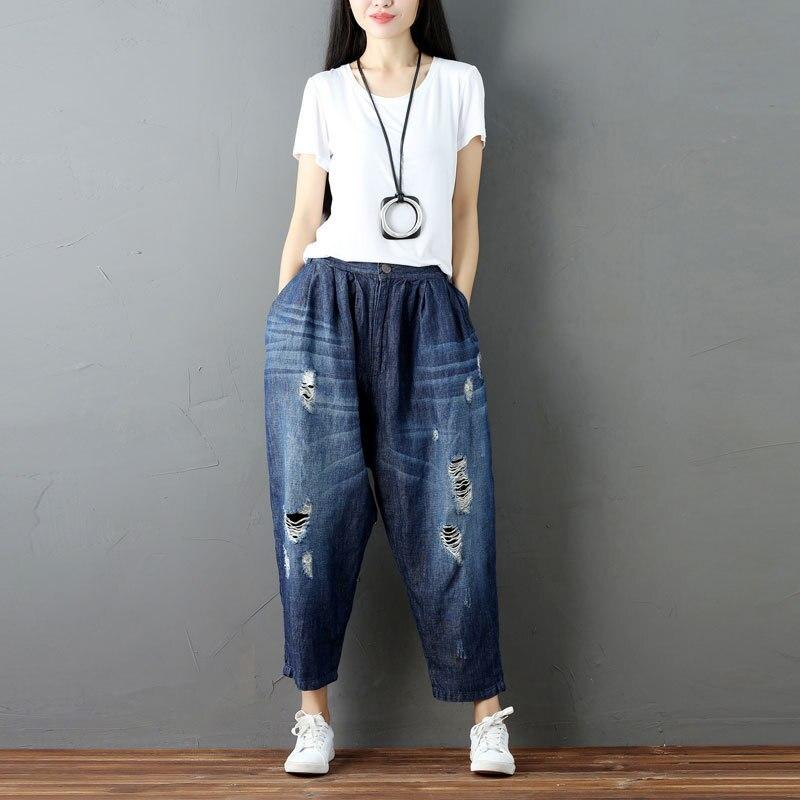 Femmes Pour Boho Large Baggy Pantalons Boyfriend Jambe Harajuku Coton Denim Occasionnel Harem Capri Pantalon Élastique Taille Jeans nfwRgqaZR
