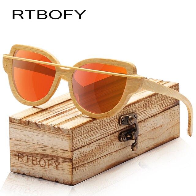 54456d13b9 RTBOFY Wood Sunglasses Women Bamboo Frame Eyeglasses Polarized Lenses  Glasses with Wood Box UV400 Protection Shades
