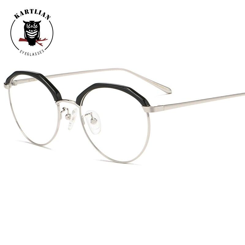 0469d4e440 Kartlian Cat-eye Glasses Optical Frame Eyeglasses Men Women eyewear Lens  prescription lenses spectacles transparent alloy frame