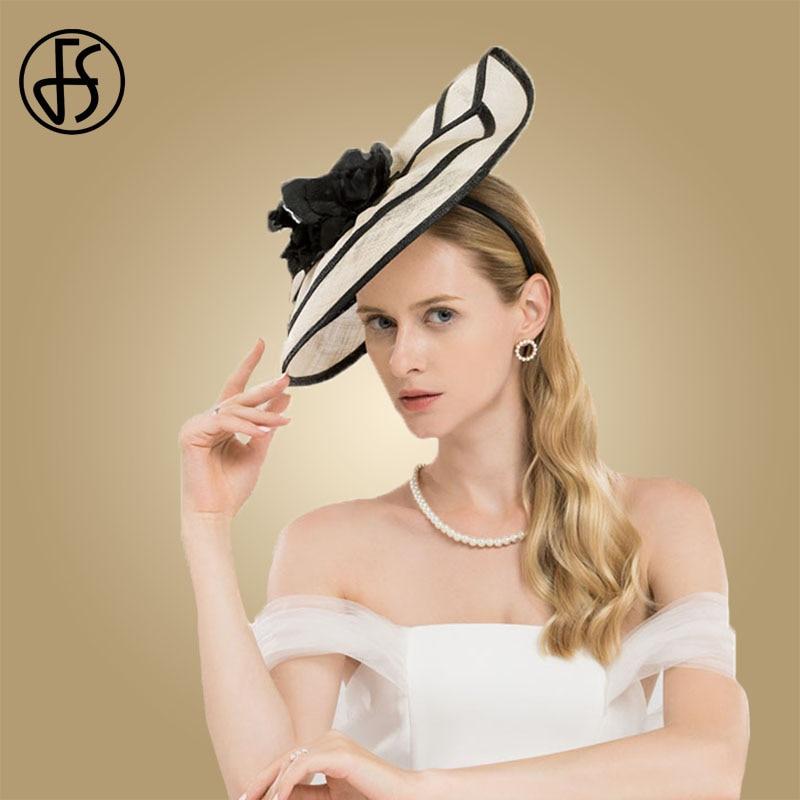 Sombreros elegantes de mujer para bodas, sombrero de cóctel de Sinamay con flores, vestido de iglesia de Kentucky - 5