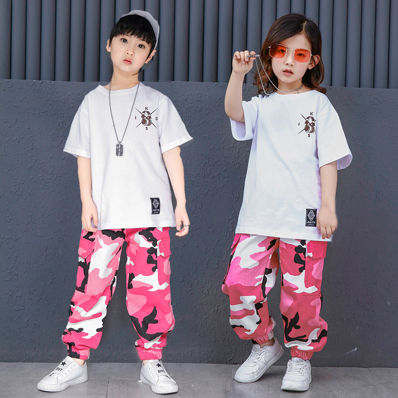 Kids White T Shirt Tops Camouflage Jogger Pants Hip Hop Clothing Clothes For Girls Boys Jazz Dance Costume Ballroom Dancing Wear