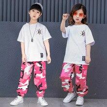 Niños blanco T camisa de camuflaje pantalones Hip Hop ropa para niños niñas danza  traje de baile de salón de baile desgaste 2de0d058119