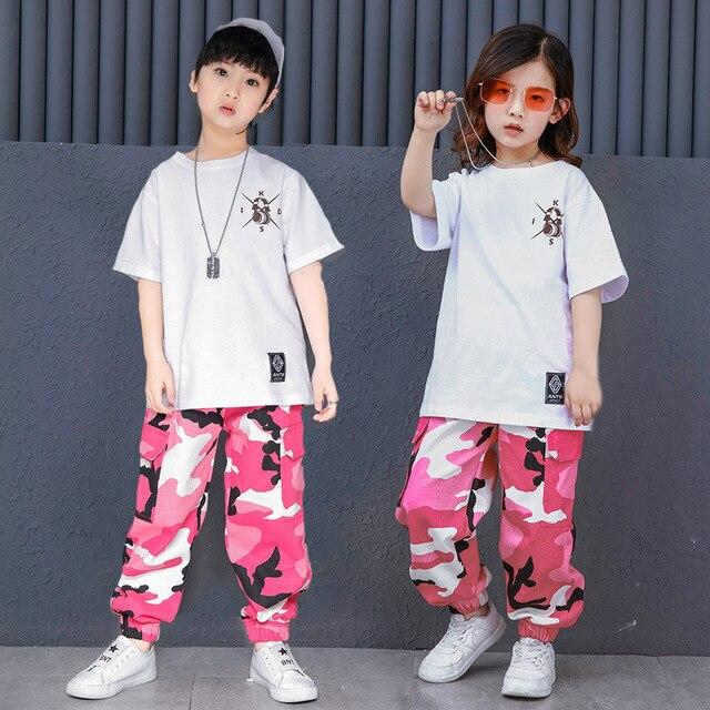 Niños blanco T camisa de camuflaje pantalones Hip Hop ropa para niños niñas  danza traje de f56d15be99a