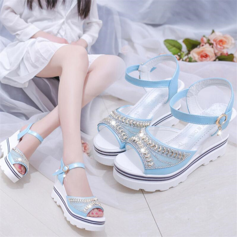 New wedge sandals female fish mouth buckle with flat bottom platform waterproof platform thick bottom sponge cake women's shoes