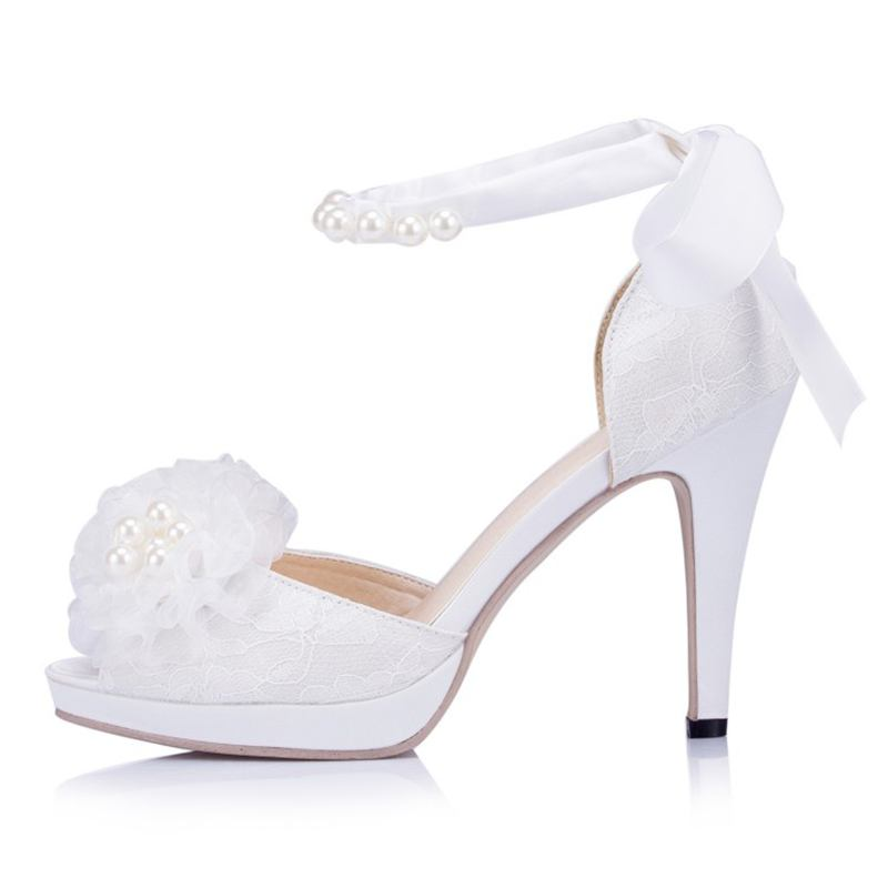 White/Ivory Peep  Toes Lace Satin Lace-up  Wedding Shoes  Pearls  Ring   Bridal Shoes High Heel Peep Toes  JYG277 20 colors custom 2016 ladies silver crystal high heel bridal shoes peep toes size 10 free shipping