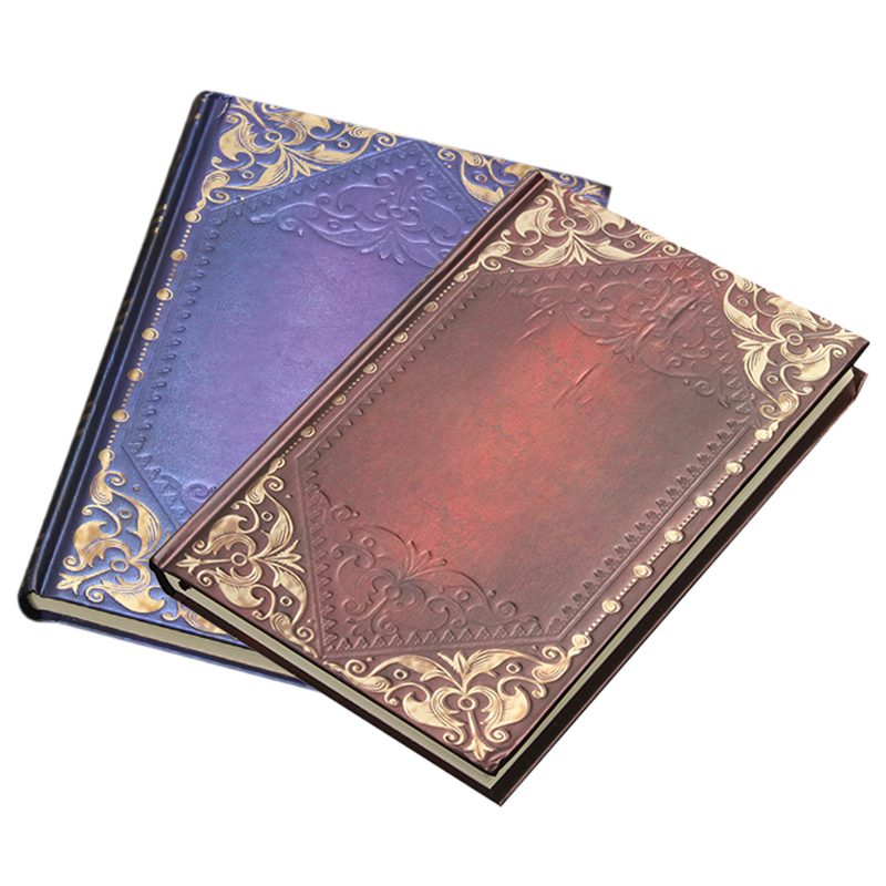 HOT-Vintage Classic Retro Golden Plaid Framed Notebook Portable Diary Journal Book