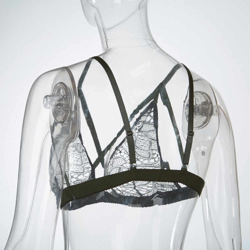 Bralette D30 May25 con sujetador transparente de encaje Floral para mujer