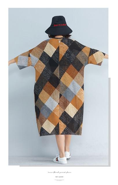 P Ammy LagenLook Mid-Long Plaid Loose Streetwear Shift Dress Plus Size Three Quarter Baggy Straight Checkered Tunic Dress 3