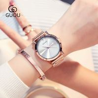 GUOU New Watch Luxury Rose Gold Women Watches Fashion Modern Leather Ladies Watch Gift for girl montre femme relogio feminino