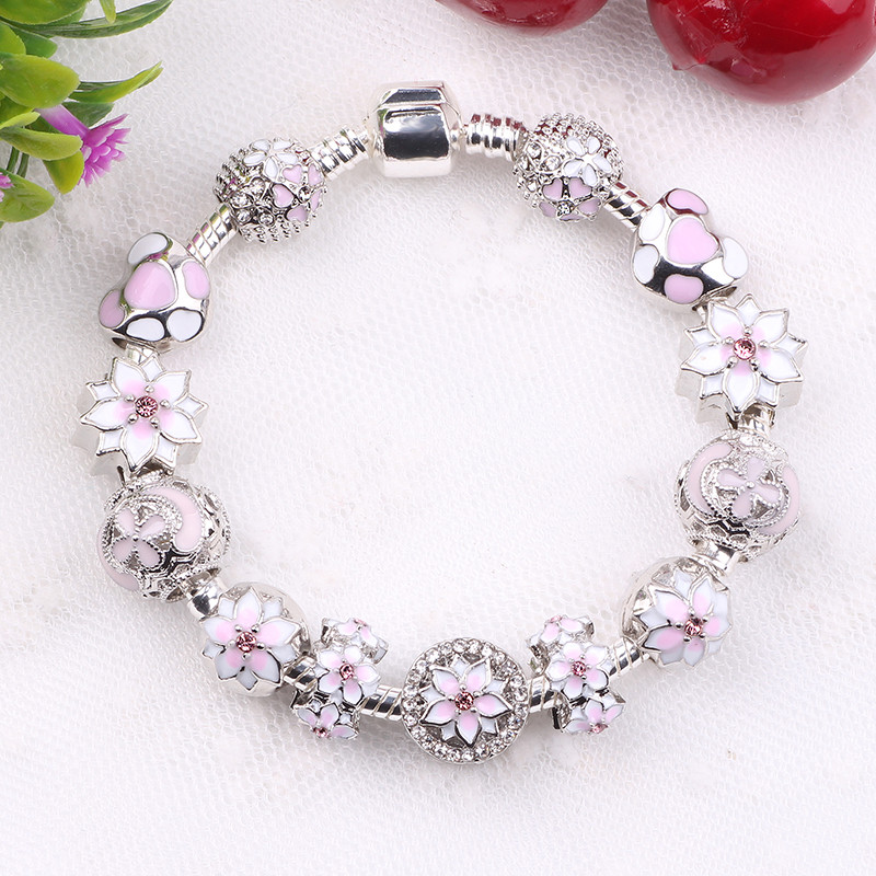 Couqcy Zircon Pendant Bracelets Pink Flower Bead Lock Charms Romantic Gift Fit Women Bracelets For Original Bracelets