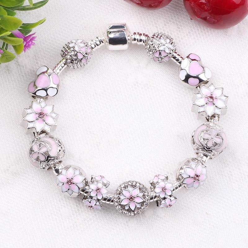Couqcy Zirkon Anhänger Armbänder Rosa Blume Bead Lock-Charms Romantische Geschenk Fit Frauen Armbänder Für Original Armbänder