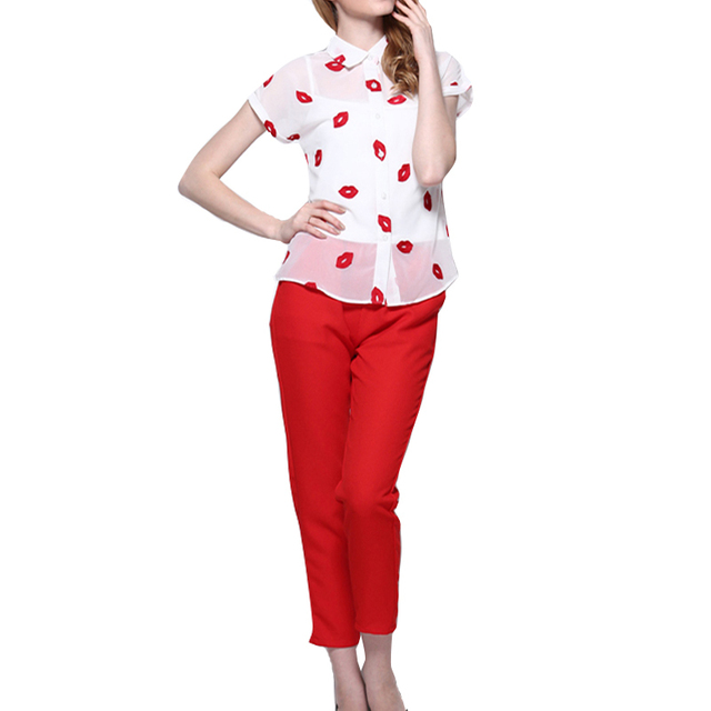 Women Summer Clothing Red Lips Embroidery White Short Sleeve Chiffon Blouse Top Red Ankle-Length Pencil Pants 2 Piece Set women