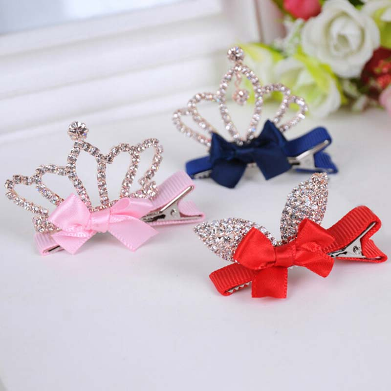 1 PC Girls Hair Clip Shiny Crown Rhinestone Princess Hairpins Kids Rabbit Ears Barrettes Crystal headband party Hair Accessories m mism new arrival girls yarn hair accessories pearls crown shaped fabric hairpins bb christmas dancing party princess hair clip