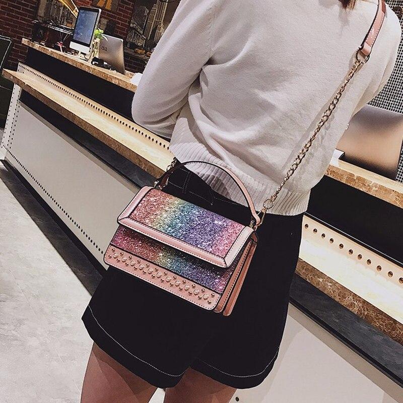 MAOTEM 2018 New Women Small Cute Chains Messenger Bags,Summer Pink River Crossbody Bag,Rainbow Bling Top-Hand Flap Bag