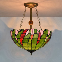 16 Inch Green Vintage Pendant Lamp Art Stained Glass Shade Lights Restaurant Living Room Suspension Project Light Fixture