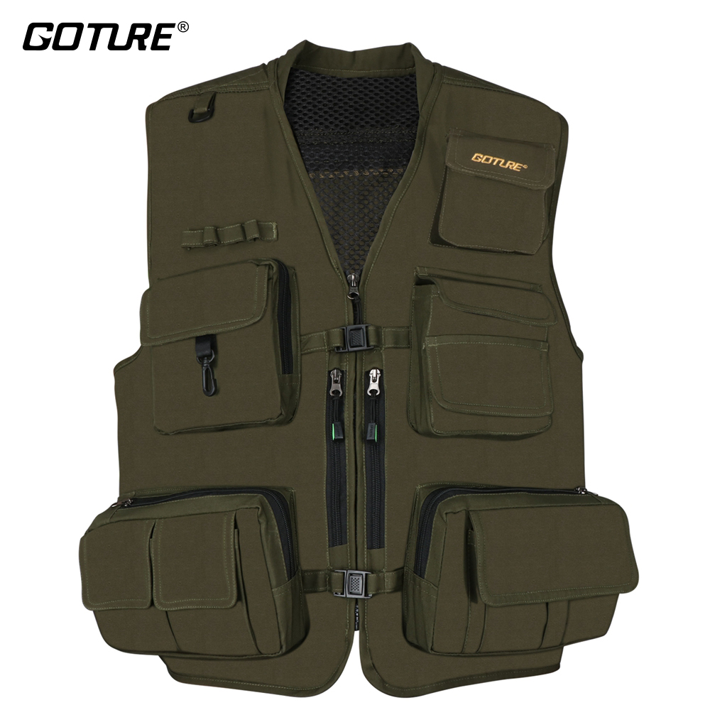 Goture Men Fly Fishing Vest Fishing Waistcoat Ice Vest Life Jacket For Winter Trout Fishing Black Or Dark Green Size L XL XXL adjustable pro safety equestrian horse riding vest eva padded body protector s m l xl xxl for men kids women camping hiking