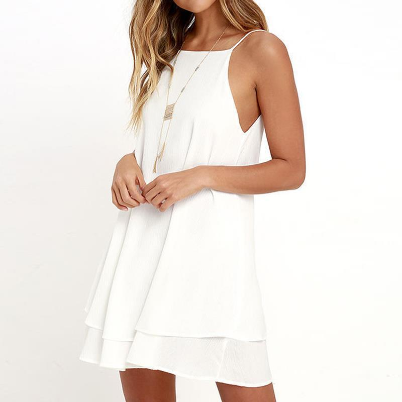 LOSSKY 2018 Summer Chiffon Dress Sexy Mini Casual Dresses Spaghetti Strap A Line Off Shoulder Dresses Vestido Fe Fiesta 3