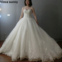 Charming Applique Bridal Gowns Ball Gown Lace Wedding Dresses Sweetheart Floor Length Vintage Wedding Dress 2018