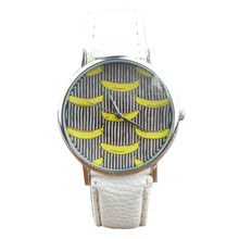 SmileOMG Banana Pattern Leather Band Analog Quartz Vogue Wrist Watches ,Aug 18