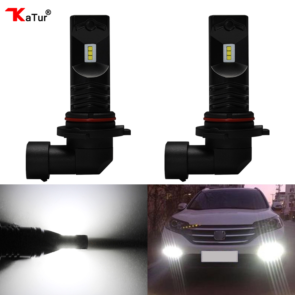 Katur 2pcs HB4 9006 LED Fog Light Bulbs Conversion Kit Super Bright CSP Chip 6500K White Automobiles Car-Styling Daytime Runing new arrival canbus p6 car led head lamp conversion kit bulb 4500lm 2 9000lm led headlight super bright 45w 2 90w car styling