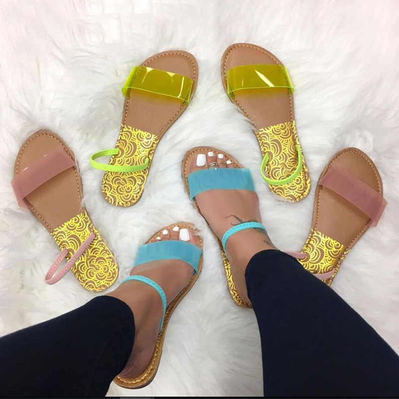 Woman Sandals Transparent Jelly Shoes Soft Female Elastic Band Slippers Open Toe Women Outdoor Beach Ladies Slides Summer 2019