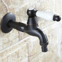 Retro Euro Style Oil Rubbed Bronze Single Ceramic Handle Toilet Bibcocks Wall Mount Washing Machine Faucet