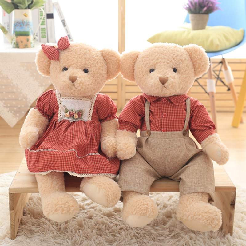 Nooer 45cm 1 Pair Lover Teddy Bear Plush Toy Stuffed Couple Bears Doll Soft Kids Baby Children Toy Wedding Birthday Girl Gift nooer plush bull terrier dog kids baby toy super soft sleeping pillow for children birthday christmas gift free shipping