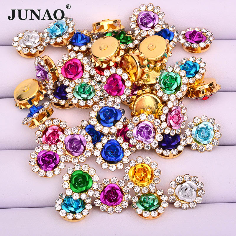 JUNAO 10 12 14 mm Mix Color Sewing Rhinestones Applique Strass Rose Resin Cabochon Stones Flower Crystals for Needlework Crafts(China)