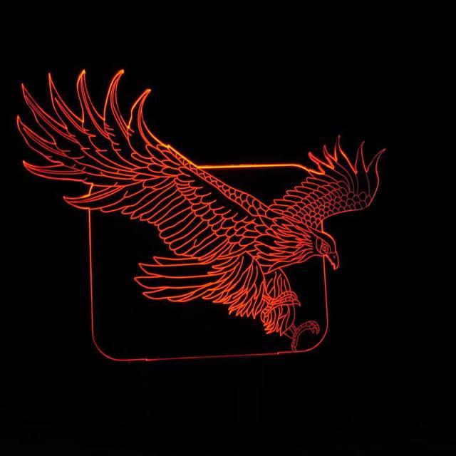 Nuevo USB 7 Colores Cambiables Patrón Águila Grande 3D LED Lámpara de Noche