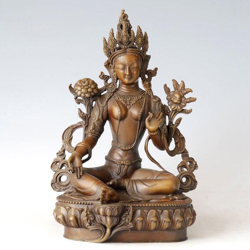ATLIE Bronze Bodhisattva Tara Green Figurines India Buddhist Buddha Goddess Sculpture Statue Brass For Temple Decoration
