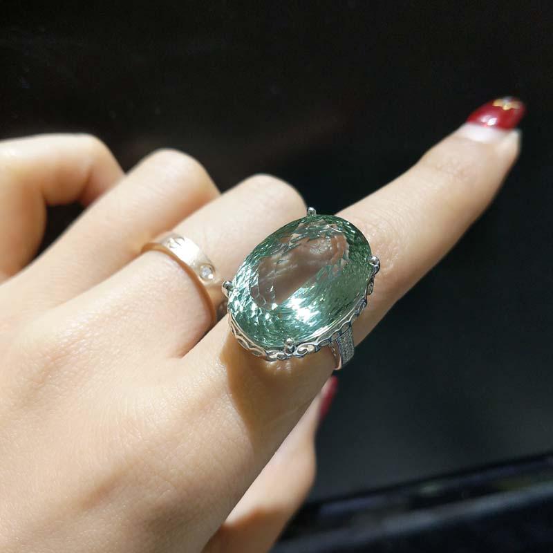 Takı ve Aksesuarları'ten Halkalar'de FLZB, güzel takı kaliteli doğal yeşil ametist 16*22mm 25.5ct 925 ayar gümüş takı lüks charminf yüzük'da  Grup 1