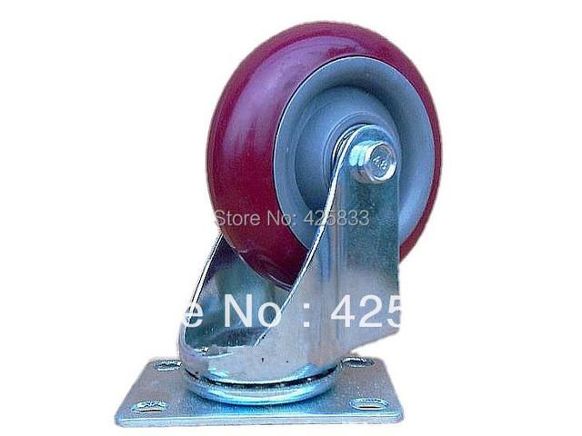 100mm De Borracha De Poliuretano Roda Ferragem da Mobília Plástica Giratória Nylon Desk PU Poliuretano Caster 110 kg