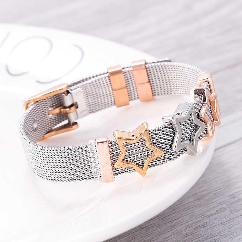 TOGORY biżuteria srebrna róża złoty kolor Mesh Keeper bransoletki z kryształową gwiazdą Slide Charms bransoletki dla kobiet Corple prezent