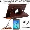 Новые Высочайшее Качество Стоял Вращающийся Кожаный Чехол Чехол для Samsung Galaxy Tab A 8.0 T350 T351 T355 Планшетный + Протектор Экрана + OTG + Ручка