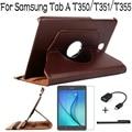 Nueva calidad superior de pie caso de la cubierta de cuero giratorio para samsung galaxy tab a 8.0 t350 t351 t355 tablet + protector de pantalla + otg + pen