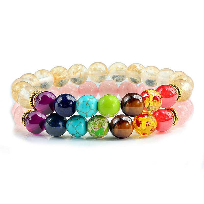 2 шт./компл. 7 Чакра Йога браслеты и браслеты Lucky натуральная пудра розовый кристаллический камень Ручной работы Бусины целебный баланс браслет Будды