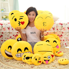 1pc Lovely 20 Styles Soft Emoji Smiley Emoticon Yellow Round Decorative Cushion Stuffed Plush Toy Doll