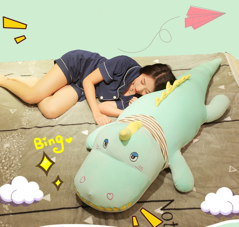 Dorimytrader kawaii crocodile plush toy doll giant animal alligator sleeping cushion bed pillow girl cute birthday gift 120cm 150cm DY50545 (7)