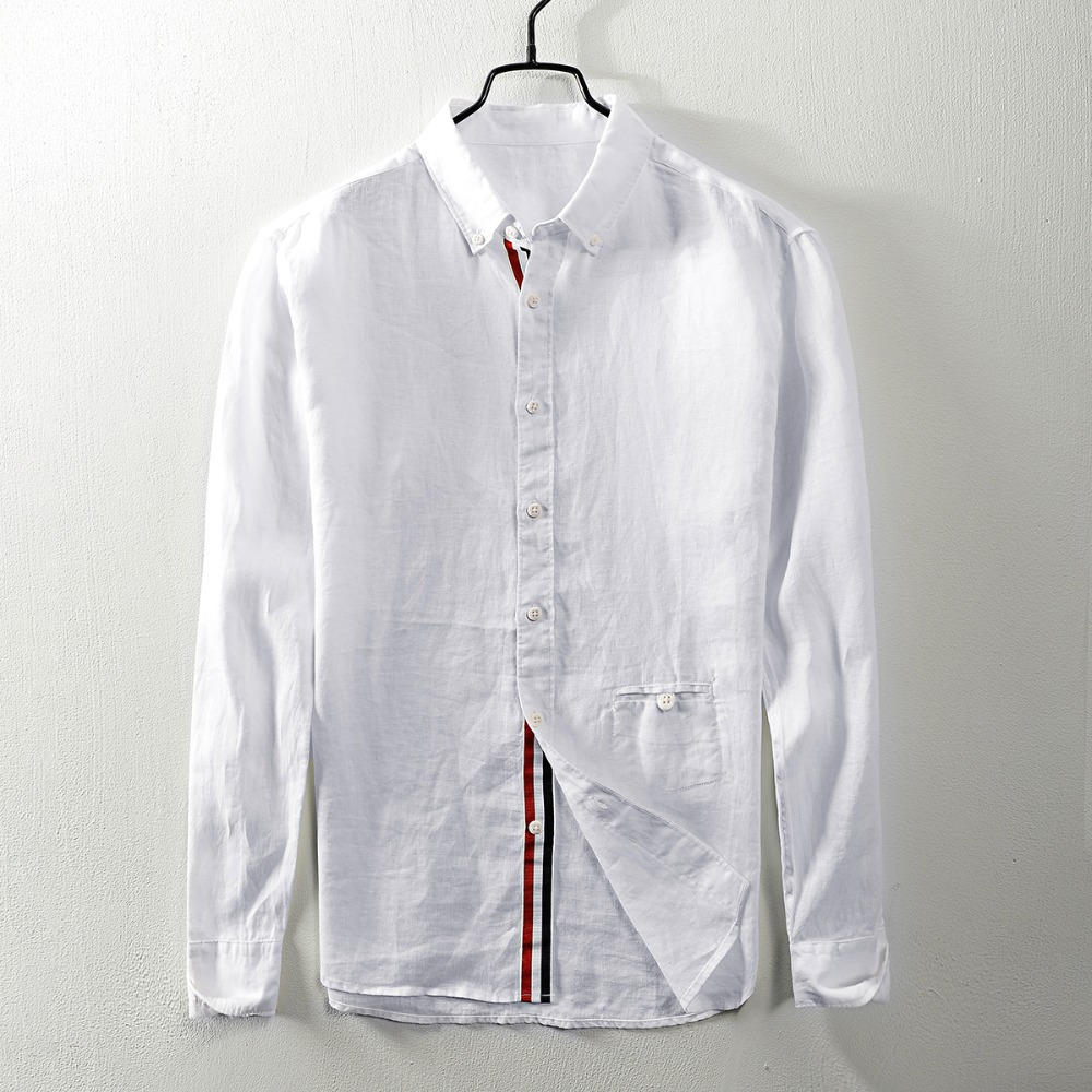 2018 Herbst Neue Lange ärmeln Leinen Hemd Männer Casual Retro Flachs Platz Kragen Weißes Hemd Herren Große Größe Shirts Männlichen Camisa
