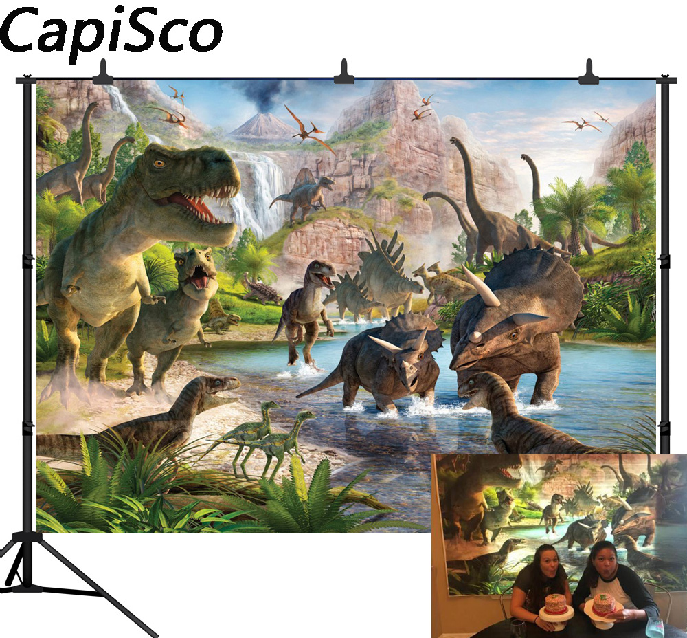 Capisco 3D Cartoon dinosaur party Picture Backgrounds Vinyl cloth High quality Computer printed children kids photo backdrop red carpet entrance stanchions ropes red light curtain backgrounds vinyl cloth computer print wall photo backdrop