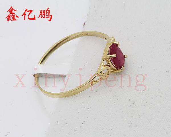 Women 18 k gold inlaid natural ruby ring Fashion luxury 4x6mm 4