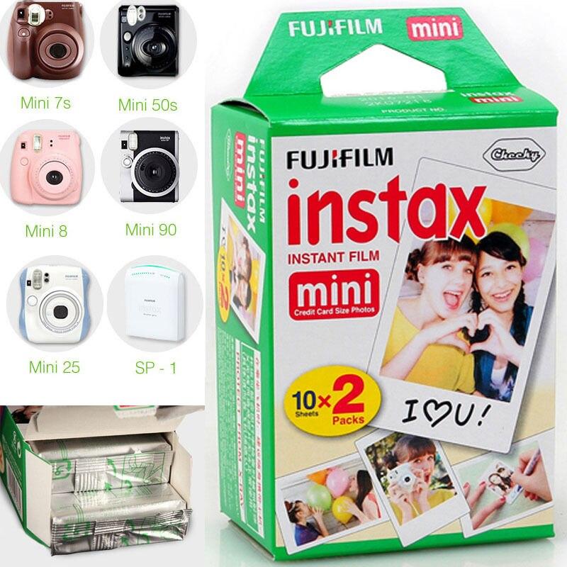 Prix pour Haute qulaity 20 feuilles D'origine Fujifilm Fuji Instax Mini Film Feuille Blanche pour polaroid mini 7 7 s 8 10 20 25 50 s 50i SP1 dw livraison